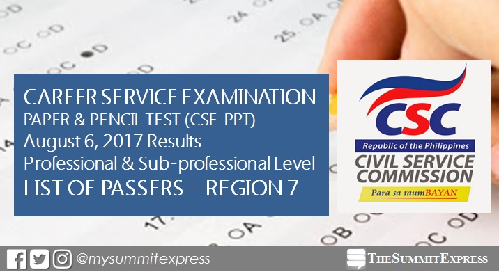 Region 7 Passers: August 2017 Civil service exam (CSE-PPT) results