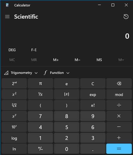 Updated calculator app in Windows 11