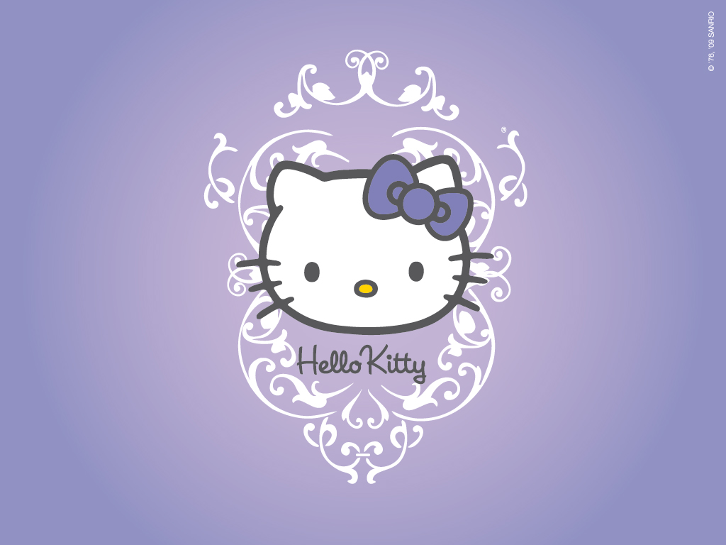 Simple Wallpaper Hello Kitty Shelf - Hello_Kitty_Character_on_Purple_Background_and_Abstract_Floral_Accessories  Trends_882586.jpg