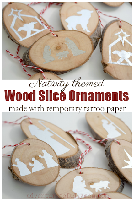 nativity themed wood slice ornaments made with temporary tattoo paper