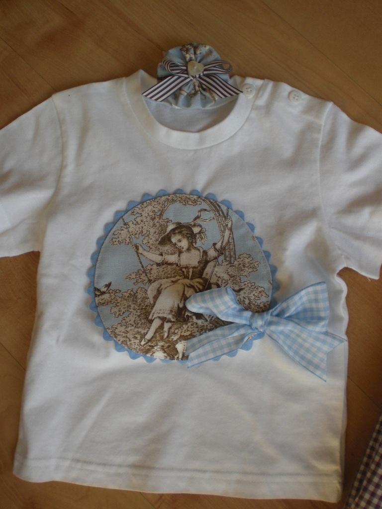 de jouy que me ha encargado una mami y la camiseta a juego para su nia con un adorno para el pelo en la misma tela seguro que estarn guapismas