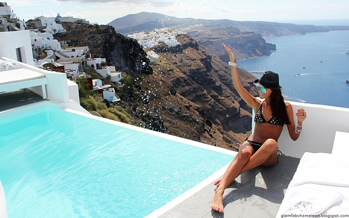 Santorini island luxury travel blogger photos