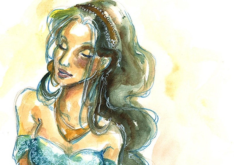12-Jasmine-detail-Isis-Marques-Drawings-and-Paintings-with-WIP-and-Videos-www-designstack-co