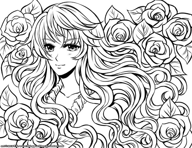 Anime Girl Coloring Pages Pictures