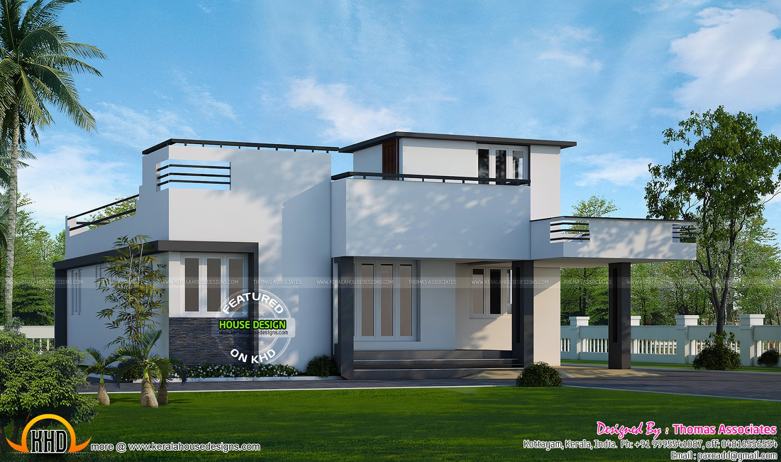 1000 2 bed room villa kerala home design and for One floor house design plans 3d