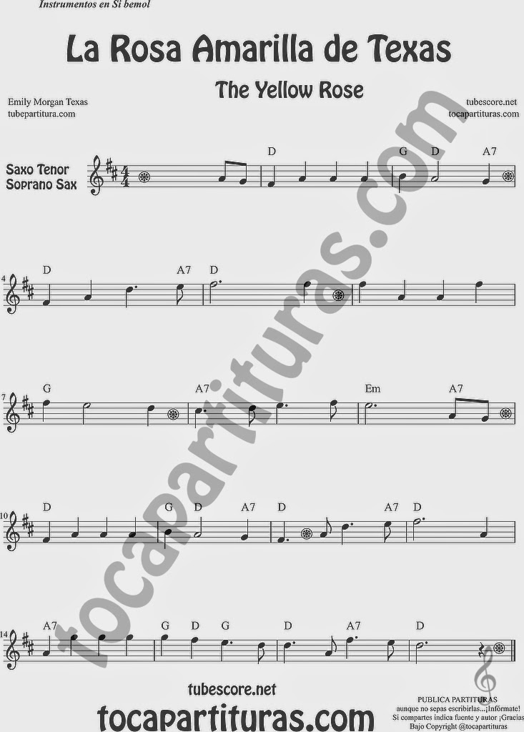 La Rosa Amarilla de Texas Partitura de Saxofón Soprano y Saxo Tenor Sheet Music for Soprano Sax and Tenor Saxophone Music Scores The Yellow Rose de Emily Morgan