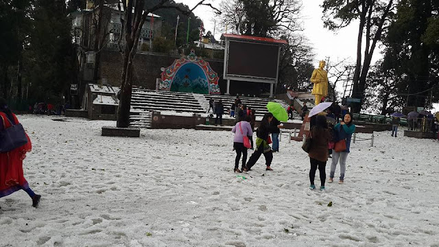 Chowrasta in Darjeeling Hailstorm  31st March 2016