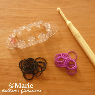 Black, purple rubber bands, hook and mini loom