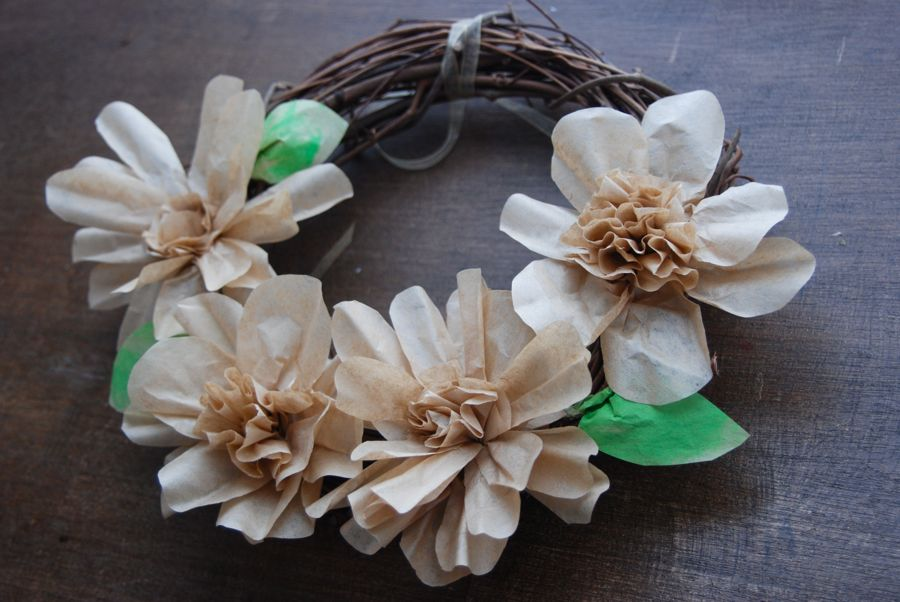 Paper flowers made from brown coffee filters.