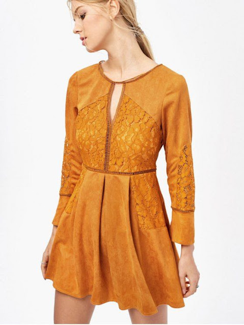 Lace Insert Cut Out Long Sleeve Dress zaful