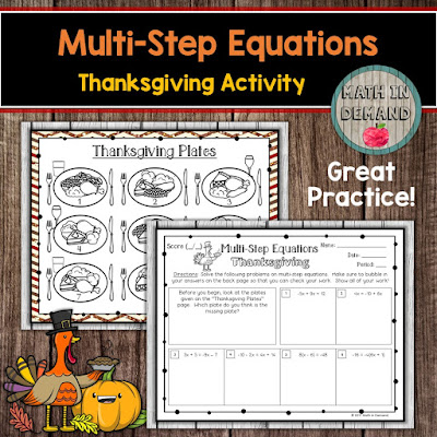 Multi-Step Equations Thanksgiving Activity