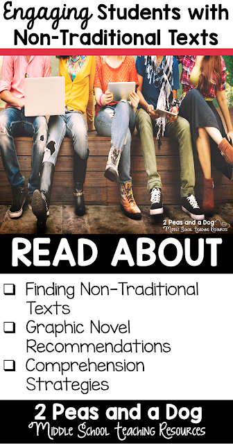 It is important that students are given opportunities to engage with non-traditional texts like graphic and free verse novels. Teachers can also use other forms of high-interest media such as infographics, videos and non-fiction articles. Read this Twitter chat recap to get ideas you can use tomorrow in your English Language Arts classroom from 2 Peas and a Dog.