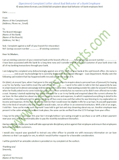 Complaint Letter about Bad Behavior of a Bank Employee (Sample)