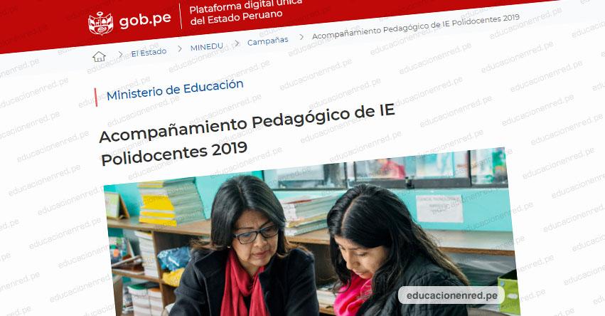 MINEDU: Acompañantes pedagógicos visitarán las aulas de IE Polidocentes [Cronograma de Actividades 2019]