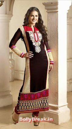 Sunny Leone in Black Anarkali, Sunny Leone Anarkali Churidar Pics, Sunny Leone in Indian Clothes