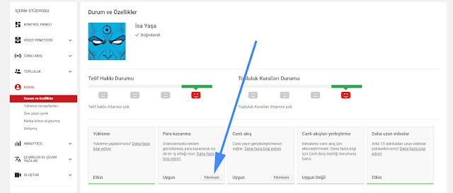 youtube para kazanma aktifleştir