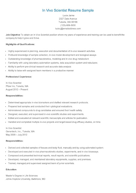 resume samples in vivo scientist resume sample