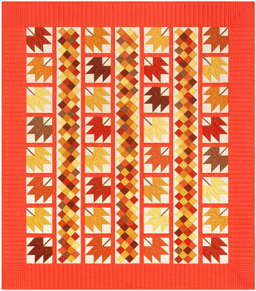 Autumn Bliss Quilt Free Pattern designed by Darlene Zimmerman for Robert Kaufman Featuring Kona Cotton Solids