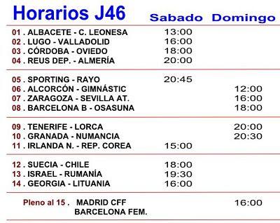 Horarios de los partidos de la Jornada numero 46 de la Quiniela de futbol