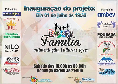 Praça Beira Rio ganha Espaço Família no dia 1º de Julho em Registro-SP