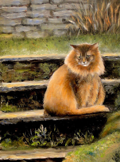 oil painting of long-haired abyssinian cat sitting on steps