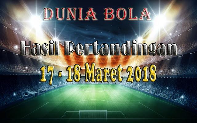 Hasil Pertandingan Sepak Bola tanggal 17 - 18 Maret 2018