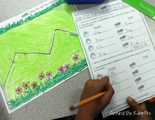 Integrating math into our butterflies unit~Students measured and compared the lengths of the paths a caterpillar crawled.