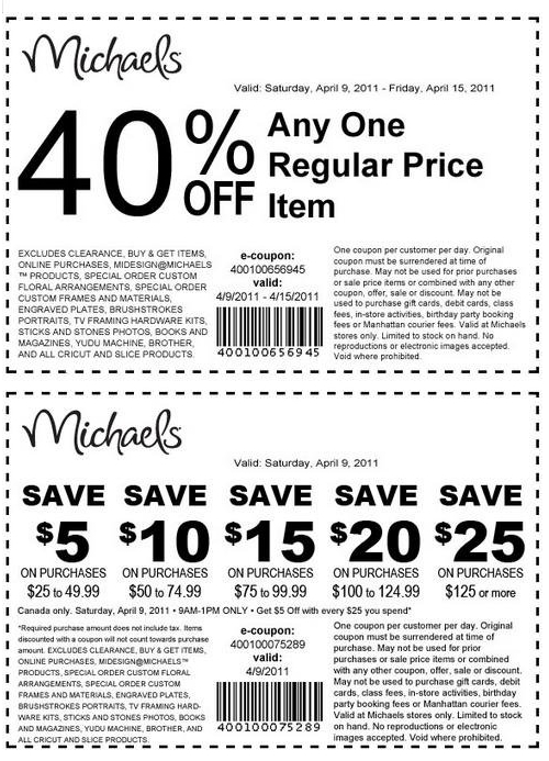 graphic relating to Michaels Coupon Printable known as Michaels canada 40 per cent off coupon / Kiava clothes