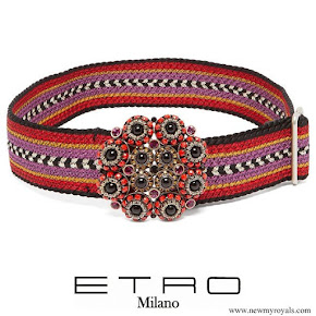 Queen Rania ETRO Embellished buckle woven belt