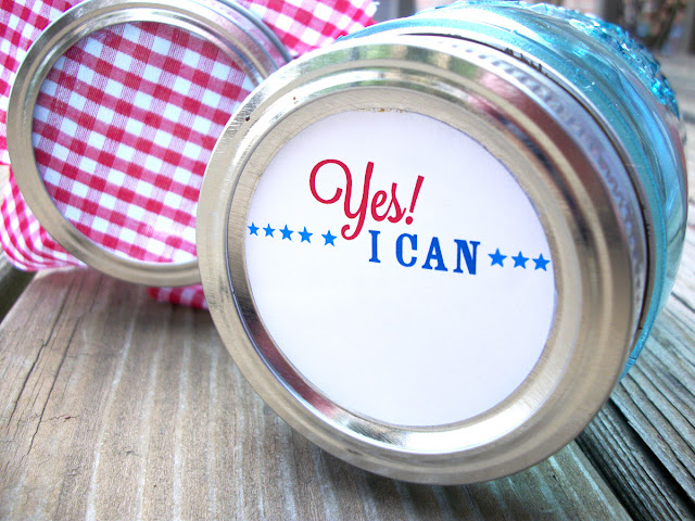 Patriotic Yes I Can, Yes We Can Mason Jar Labels