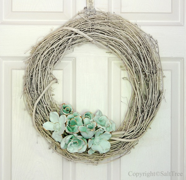 Plaster Dipped Flowers Wreath