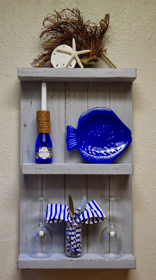 Distressed Gray Wall Shelf - SOLD