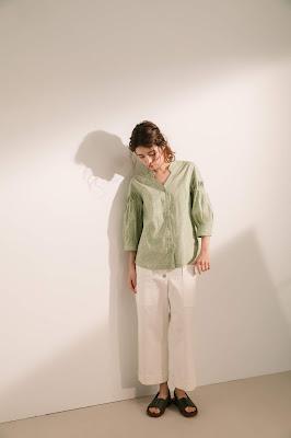 青蜂翅果立體折紋襯衫