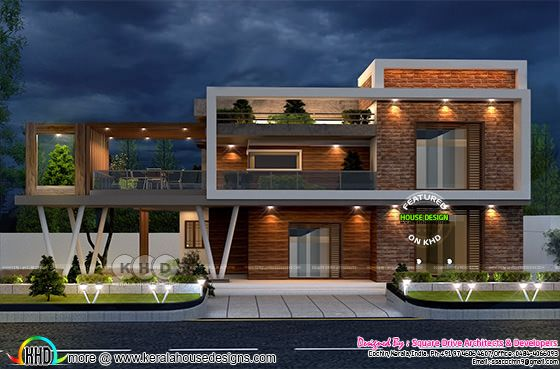 beautiful modern box model house thumb - 43+ Modern Kerala Style House Plans With Photos Background