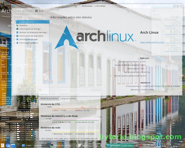 Arch Linux KDE após instalação (gráfica) pelo Revenge Installer
