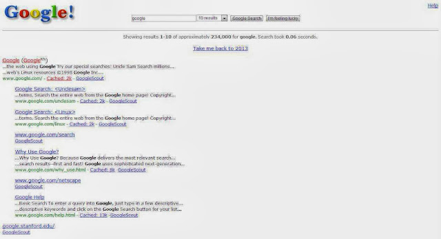 Search 'Google in 1998' and get roam into the Google Past