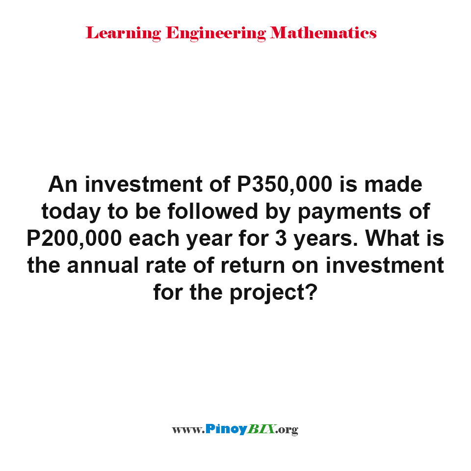 What is the annual rate of return on investment for the project?