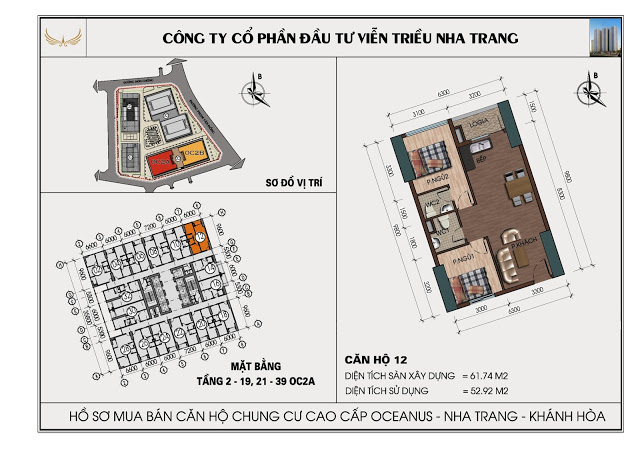Sơ đồ căn hộ số 12 tòa OC2A Viễn Triều Nha Trang
