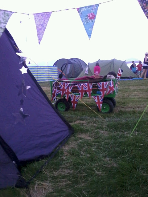 bunting on a trolley at a festival
