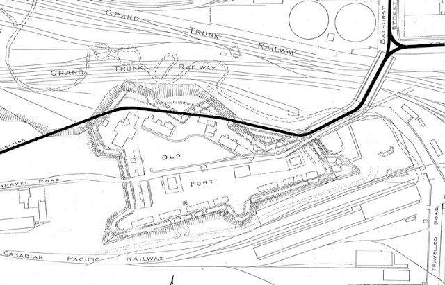 1921 Toronto Harbour Commission: Plan of Old Fort Showing Present Conditions and Location of Original Buildings