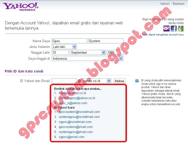 Cara Membuat Akun Alamat Email di Yahoo GPSC SYSTEM
