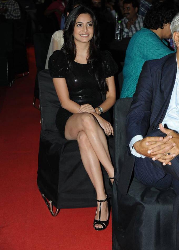Kriti Kharbanda Cross Legs Show Photos In Mini Black Dress