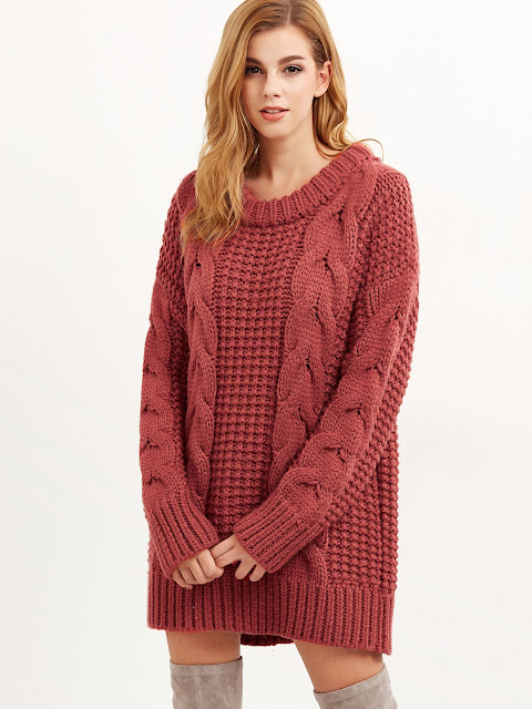 women,chunky sweater,red