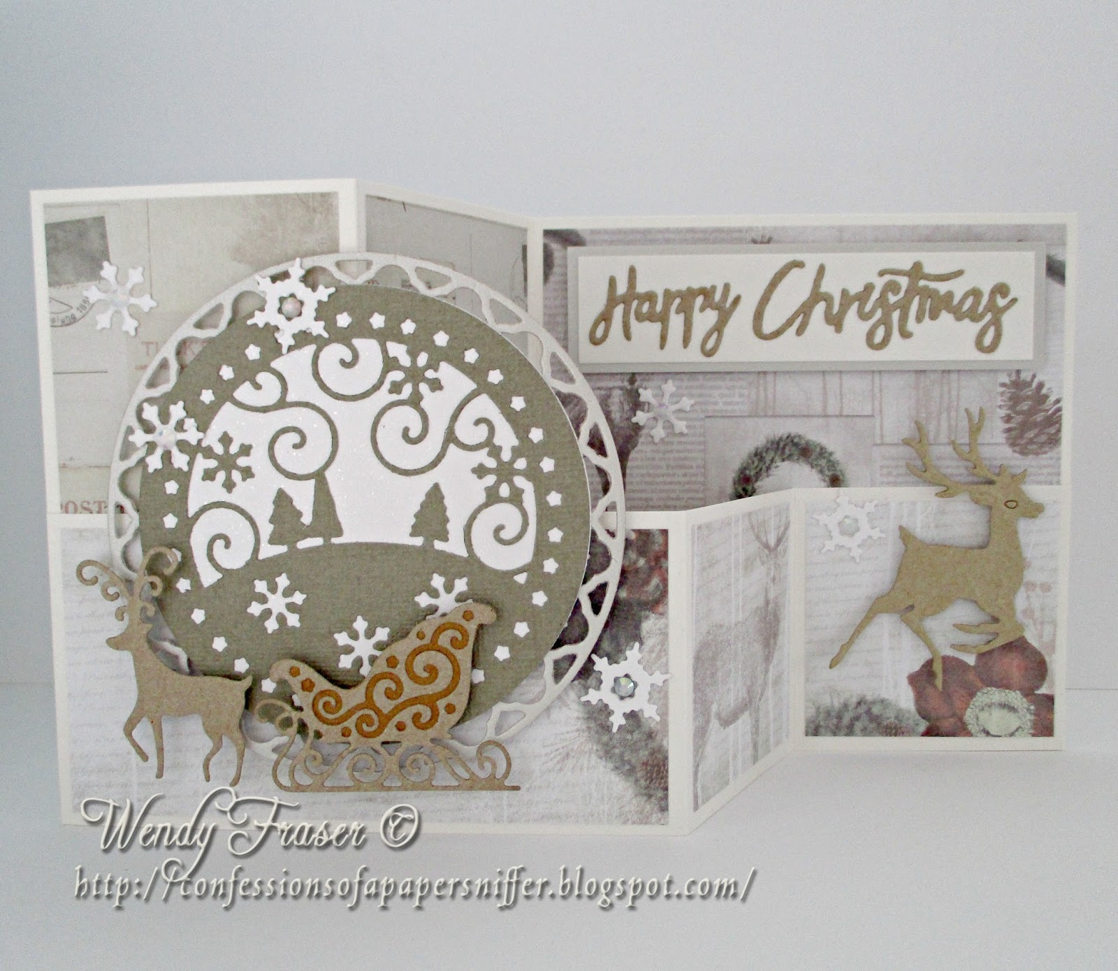 Confessions of a papersniffer double z fold christmas card for How to make folded christmas cards