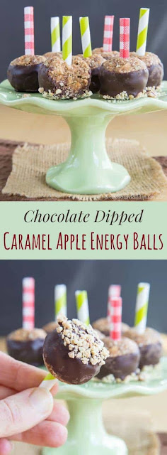 Chocolate Dipped Caramel Apple Energy Balls