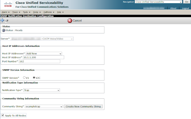 A screenshot of a trap destination being added through the Cisco Unified Serviceability graphical interface.