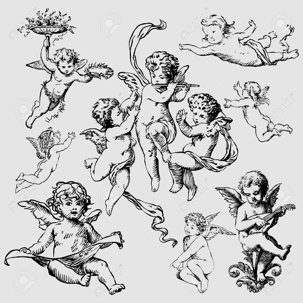 Cupid Angel Set Of Various Angels Or Cupids Isolated
