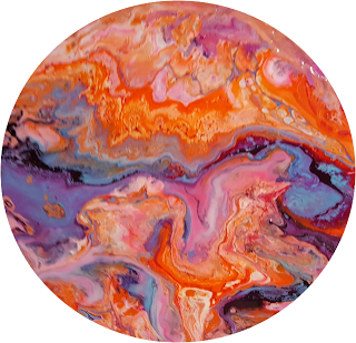 colorful circle painting. Abstract resin art by Jane Biven