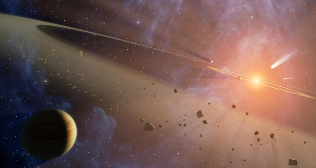 Artist's impression of the planetary system Epsilon Eridani