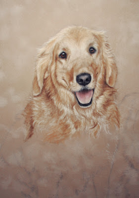 golden retriever portrait painting update by pet portrait artist Colette Theriault